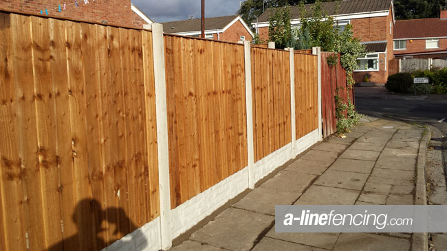 Garden fencing with concrete posts