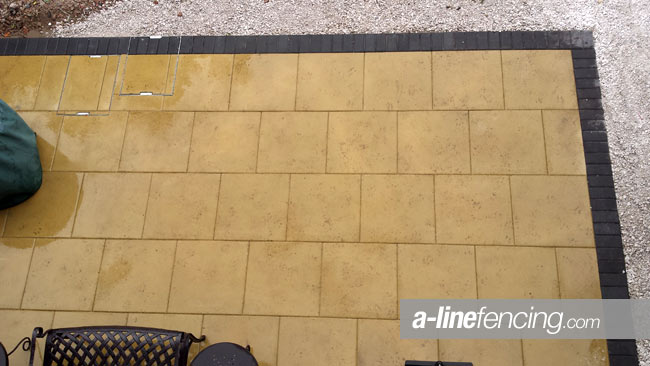Patio paving with block border