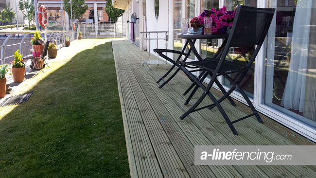 Timber decking with chairs